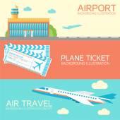 costruzione piatta aeroporto con volo aereo per tour e biglietti concetto banner o carta