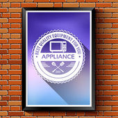 Household appliances logo or label template blurred background on red brick wall. Vector illustration isolated icons for your product or design, web and mobile applications with text stamp.
