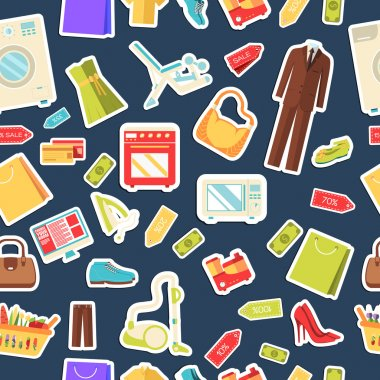 Many object purchased in the shop. Shopping abstract seamless pattern concept. In flat  sticker style icons with shop label design illustration