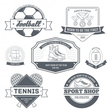 Sport set label template of emblem element for your product or design, web and mobile applications with text. Vector illustration with thin lines isolated icons on stamp symbol.