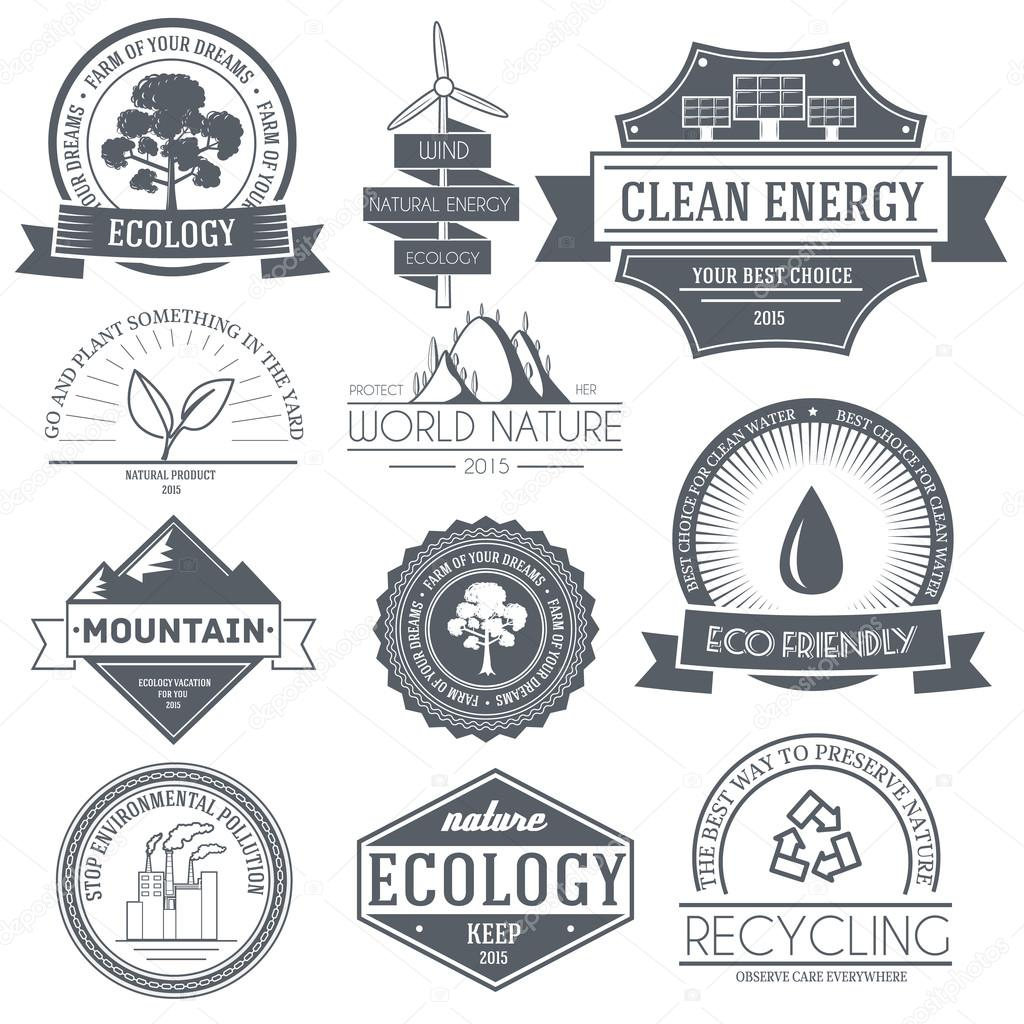 Ecology set label template of emblem element for your product or design, web and mobile applications with text. Vector illustration with thin lines isolated icons on stamp symbol.