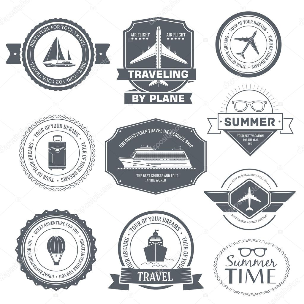 Travel set label template of emblem element for your product or design, web and mobile applications with text. Vector illustration with thin lines isolated icons on stamp symbol.