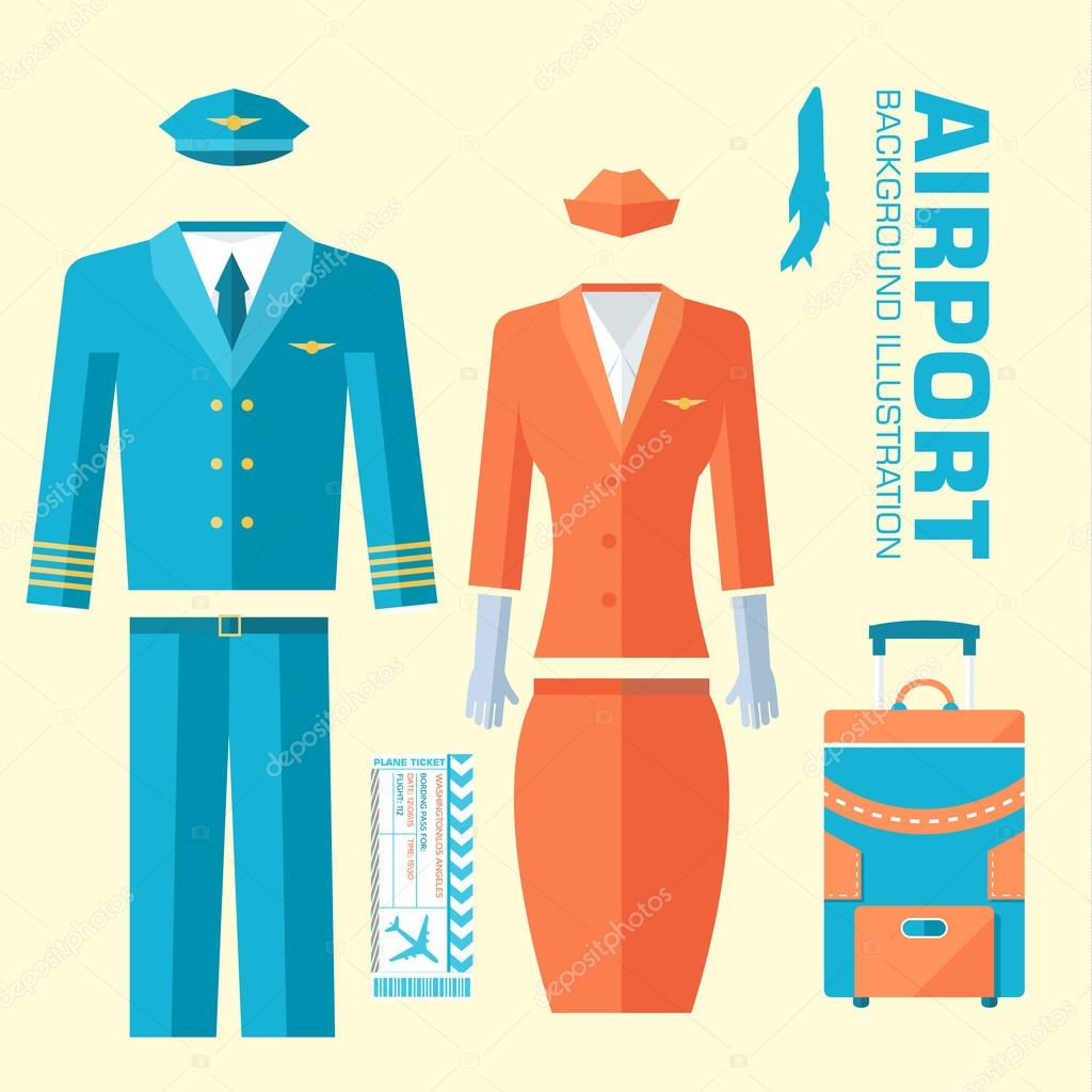 Background image 8841 - Airplane Pilot And Stewardess Uniform On Flat Style Background Concept Vector Illustration For Colorful Template