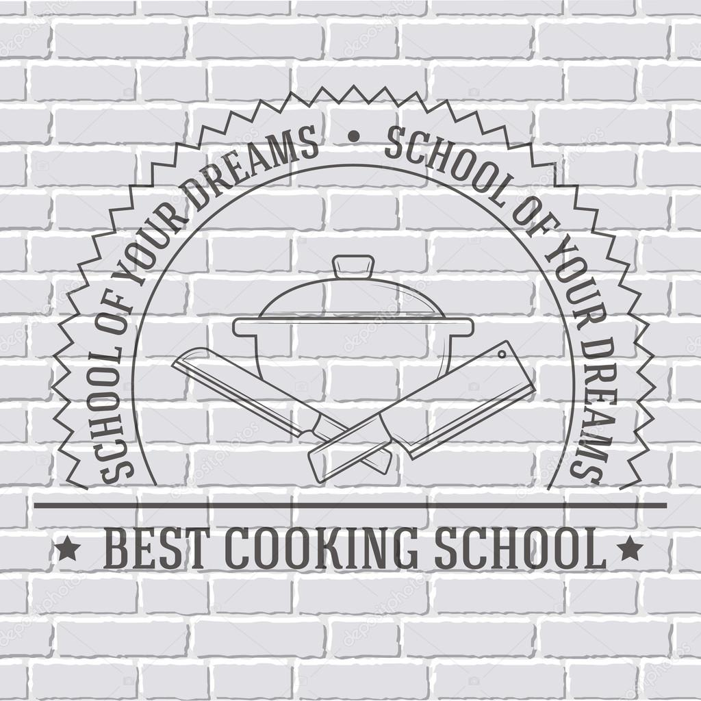 cooking logo or template on a white brick wall. Vector illustration ...