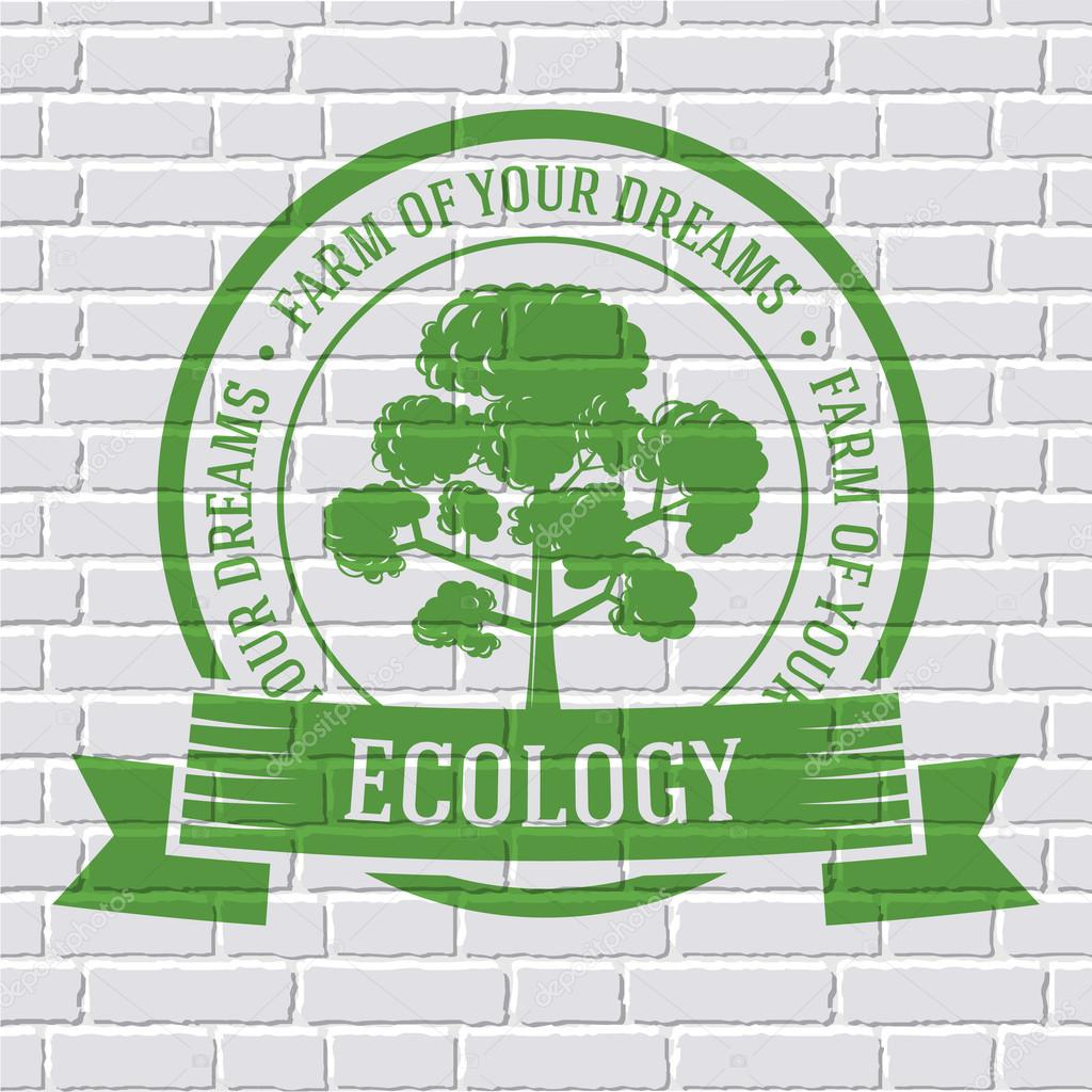 ecology tree colored logo or template on a white brick wall. Vector illustration of icon for your product or design, web and mobile applications with text stamp.