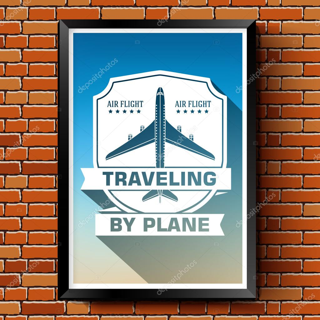 travel by plane logo or label template with blurred background on