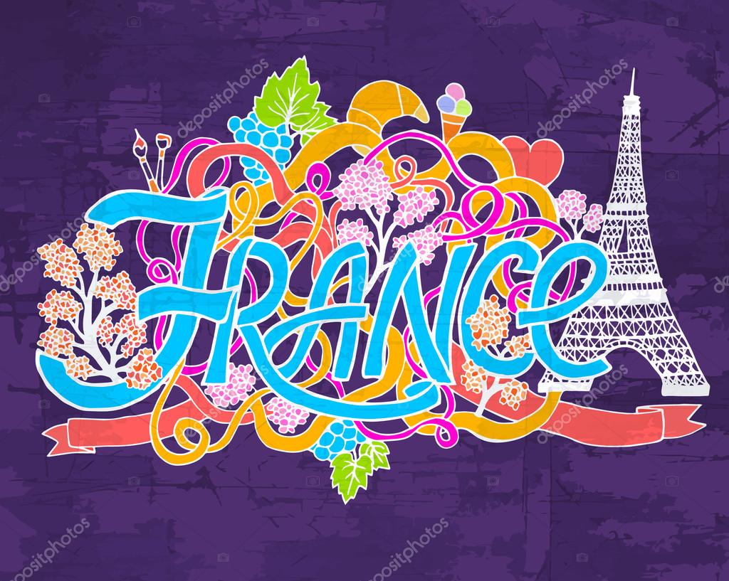France art abstract hand lettering and doodles elements background. Vector illustration for colorful template for you design, web and mobile applications.