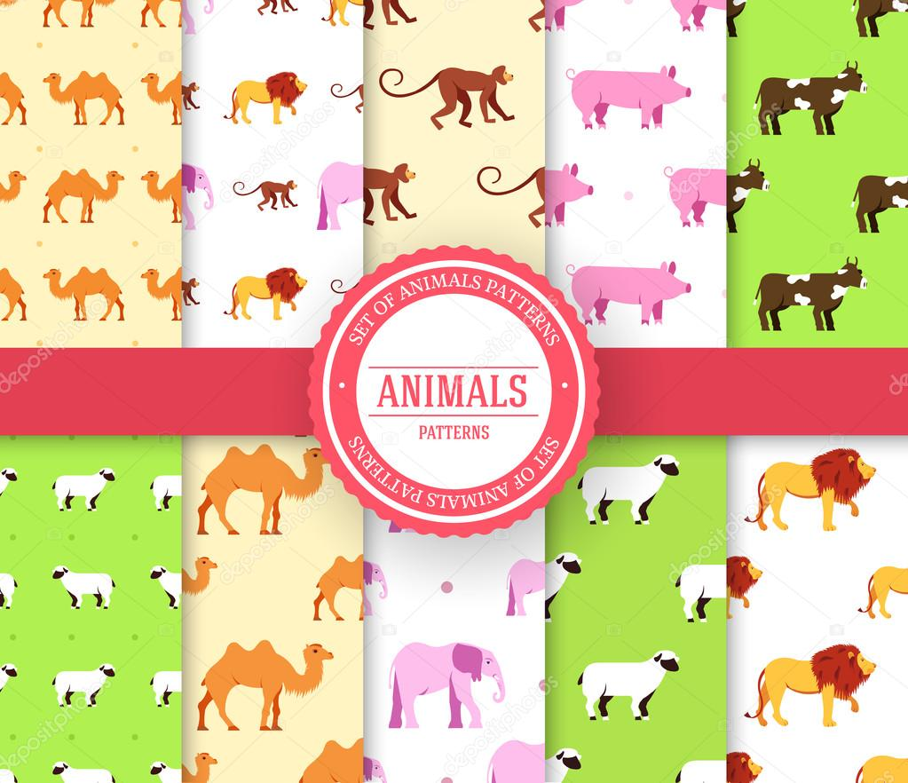 collection set of animal seamless pattern. Lion, monkey, monkey, camel, elephant, cow, pig, sheep with label logo concept. Vector illustration design with ottoman motif traditional background