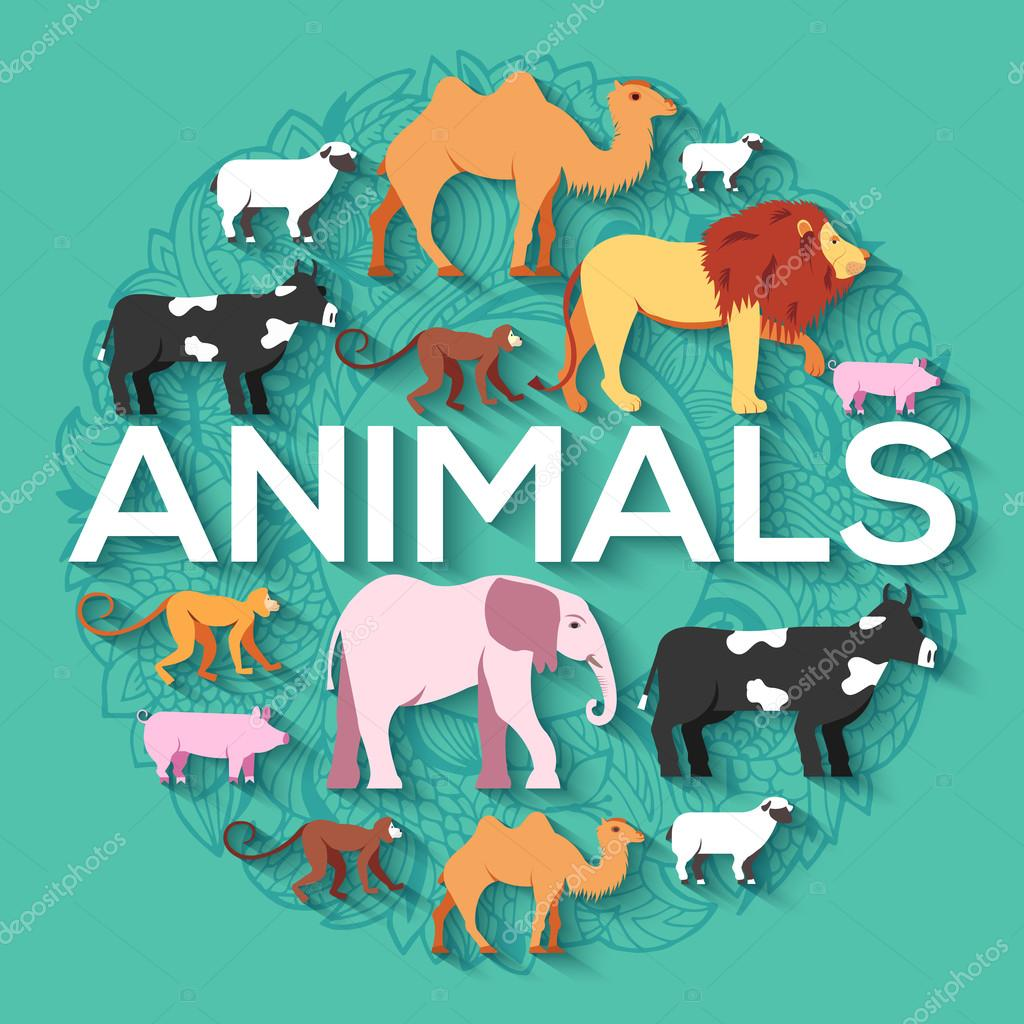 animal round concept of lion, monkey, monkey, camel, elephant, cow, pig, sheep. Vector illustration background design with ottoman motif  traditional background