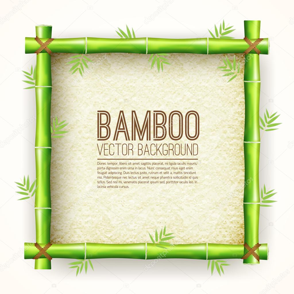 Template Bamboo Board With Stretched Paper For Text Place Background.  Vector Nature Illustration Design Concept