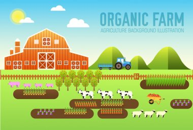 Flat farm in village set sprites and tile sets. instruments, flowers, vegetables, fruits, hay, farm building, animals, tractor, tools, clothing. Vector illustrations design banners concept