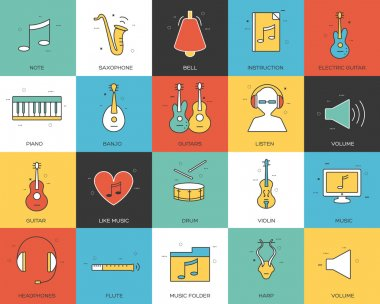 Line icons set of music collection concept. Modern vector pictogram with flat design elements design.