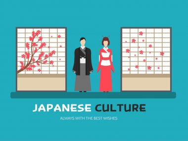 Japanese culture in flat design background concept. Japan married couple around shoji in traditional room. Icons for your product or illustration, web and mobile applications.