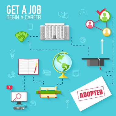 get a job for begin a career infographic background concept in retro flat style design. Vector illustration