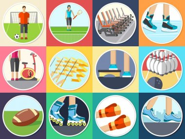 Sport life stile infographic with gym device, equipment and items. Training apparatus on a flat design style. Vector illustration workout concept icons set