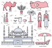 Fotografie Land Türkei Reise von Waren, Orte und der Eigenschaften in dünnen Linien Stil Design. Set von Architektur, Mode, Menschen, Gegenstände, Natur Hintergrund Konzept. Infografik-Vorlage für Web und mobile auf Flach