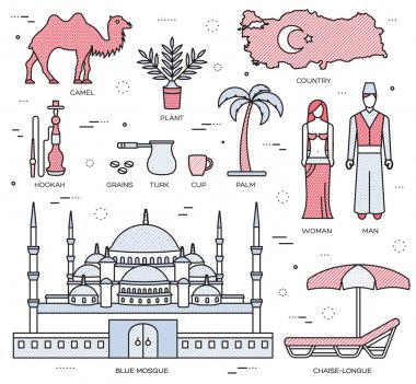 Country Turkey travel of goods, places and features in thin lines style design. Set of architecture, fashion, people, items, nature background concept. Infographic template for web and mobile on flat