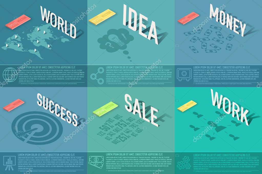 Set Perspektive Welt, Idee, Verkauf, Erfolg, Arbeit, Geld ...