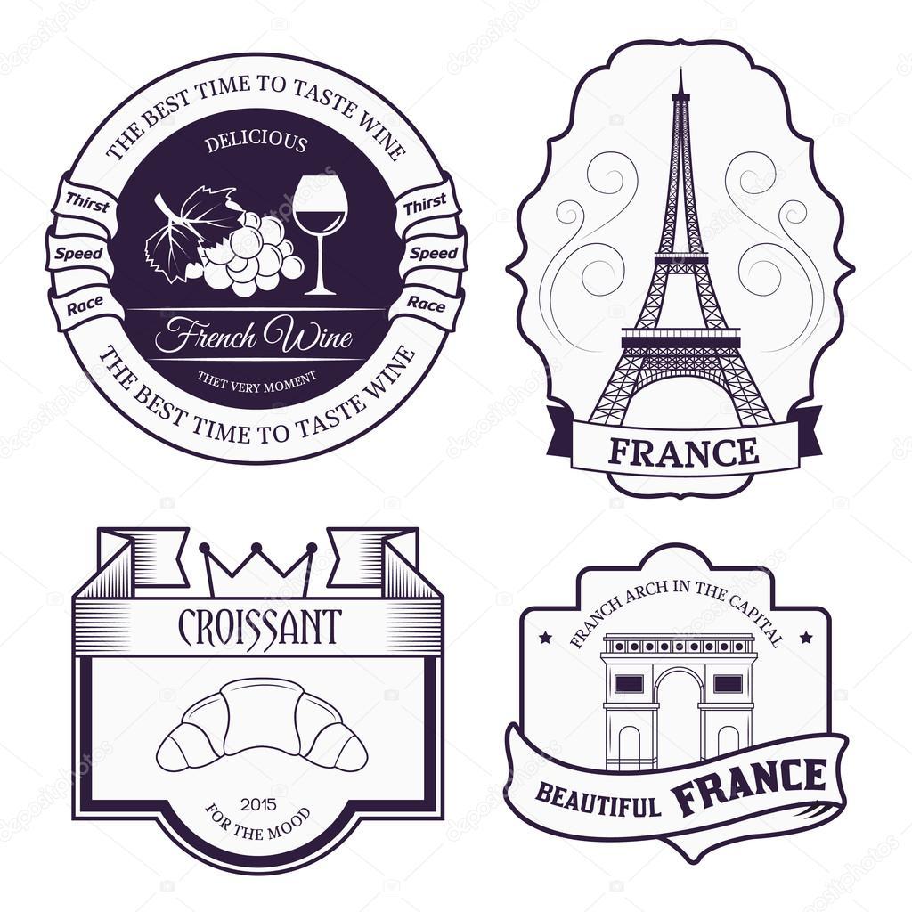 Land Frankreich gesetzt Etikettenvorlage von Emblem Element für Ihr ...