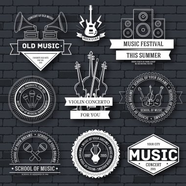 Music set label template of emblem element for your product or design, web and mobile applications with text. Vector illustration with thin lines isolated icons on stamp symbol.