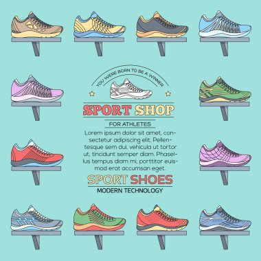 big flat illustration collection set of sneakers running, walking, shopping, style backgrounds. Vector concept elements icons. Colorful template for you design, poster, web and mobile