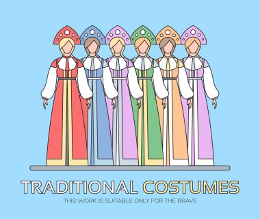 Russian national clothes illustration. Womens traditional dresses background concept. Vector elements design