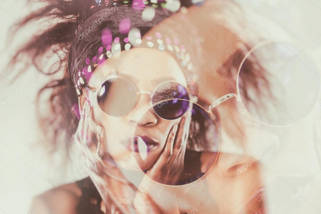 Retrato varios fotogramas del modelo africana llevando gafas de sol ...