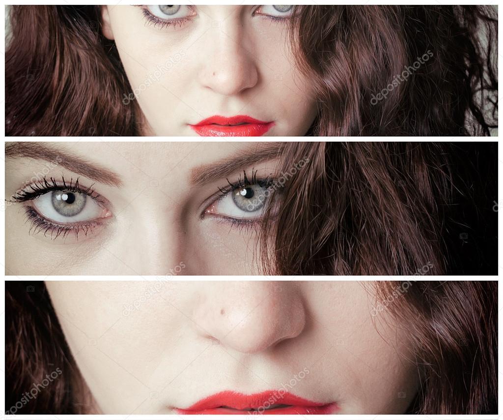 Varios fotogramas retrato de niña con ojos hermosas — Fotos de Stock ...