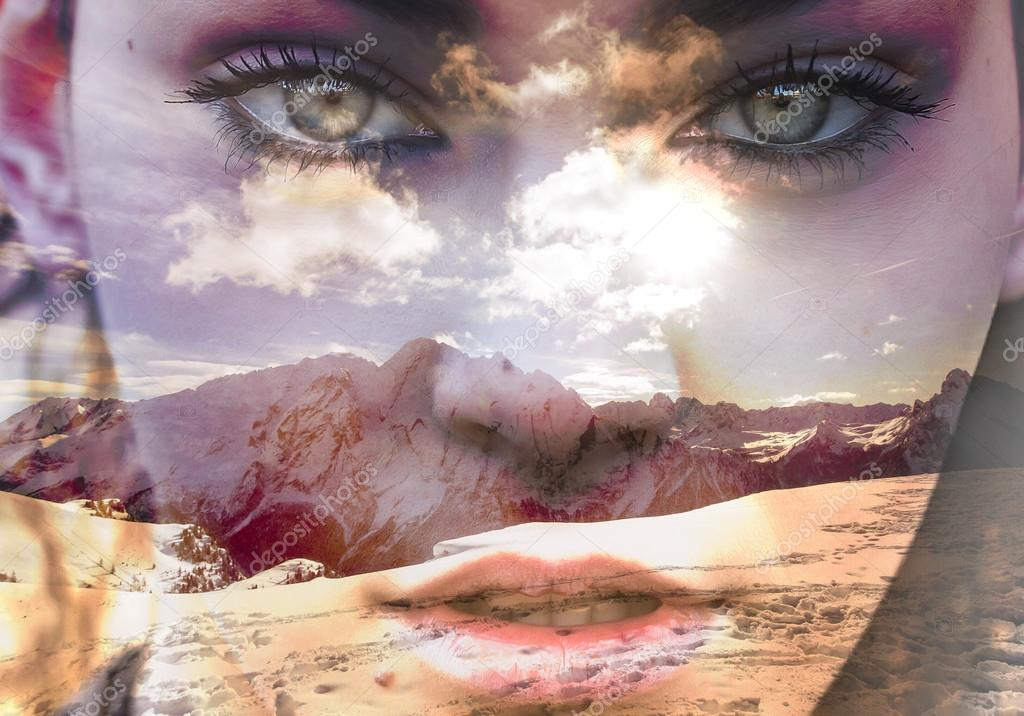 Double exposure of closeup girl portrait and mountainscape