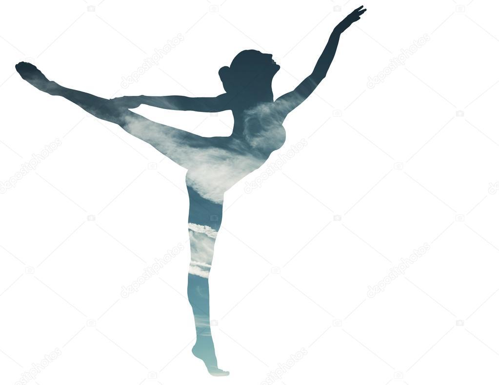 Disegno Di Una Ballerina : Doppia esposizione della ballerina di danza classica e skyscape