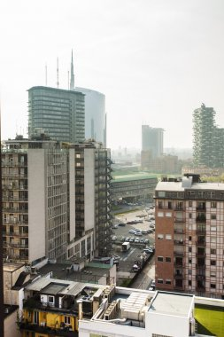 Milan cityscape and Unicredit Tower glimpse