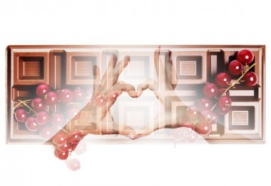 Double exposure of heart hand gesture and delicious chocolate ba