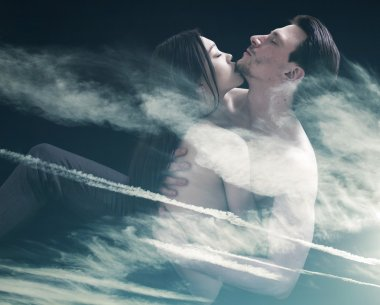 Double exposure of lovers cuddling and cloudscape