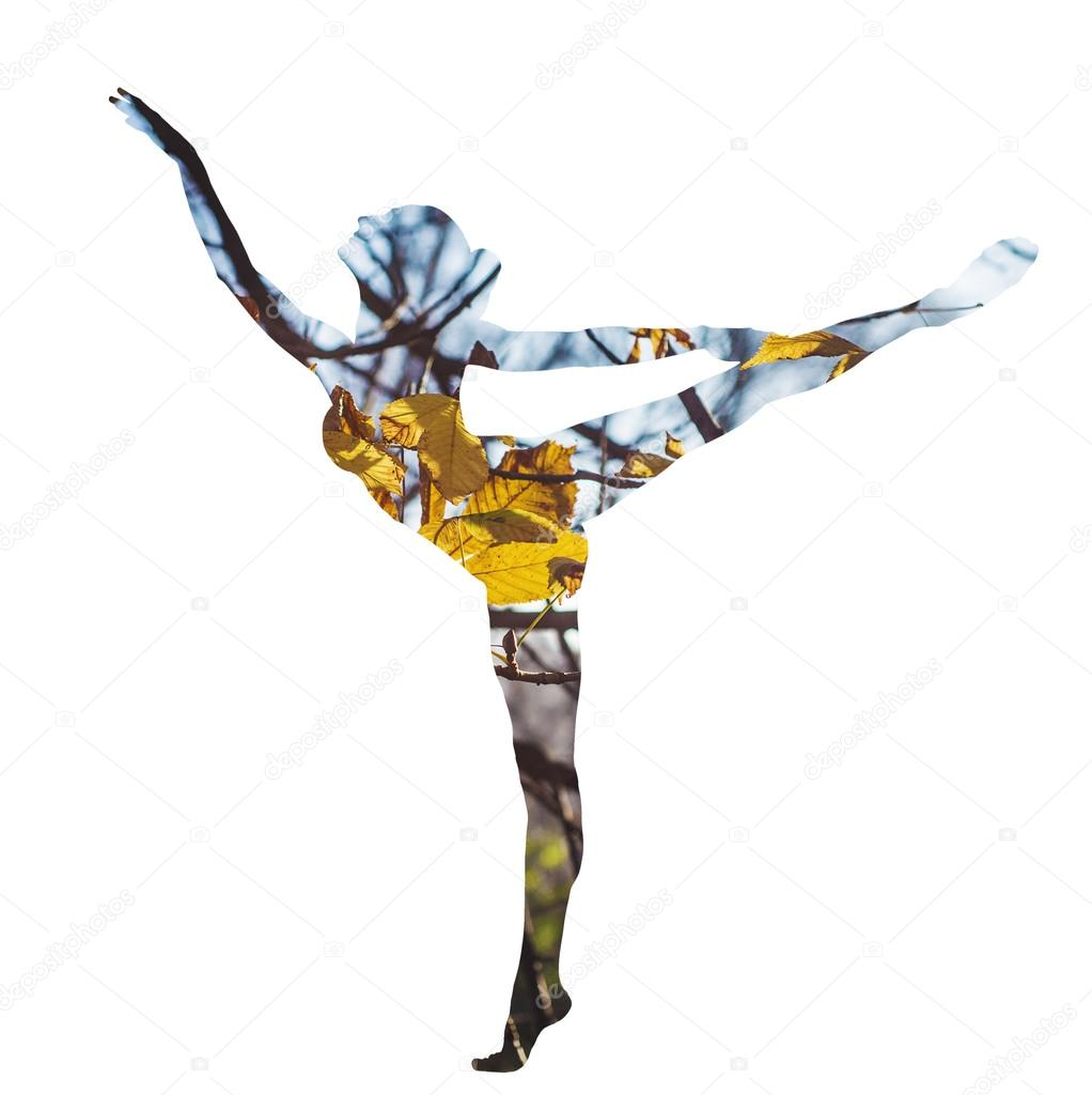 Double exposure of classical dancer and autumn leaves