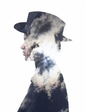 Double exposure of girl wearing hat and full moon sky