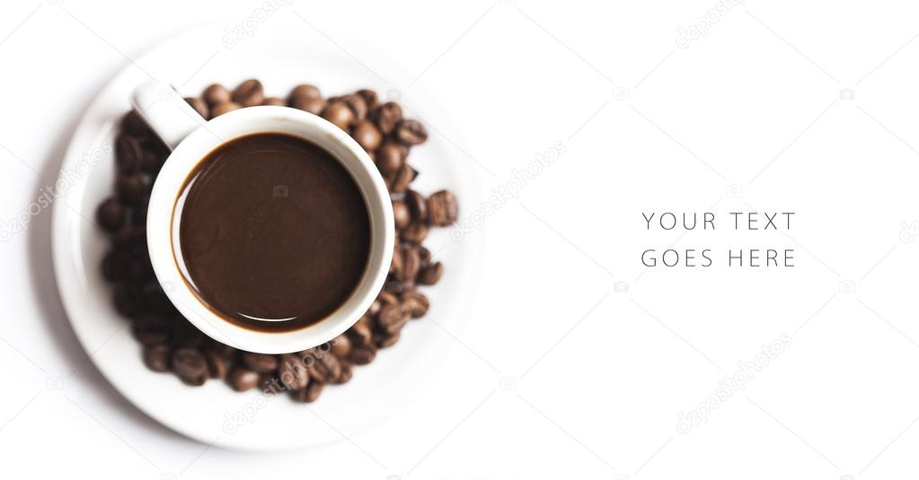 Coffee cup and beans card