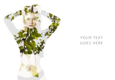 Double exposure of beautiful woman and green leaves card