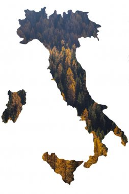 Double exposure of Italy map and autumn treescape