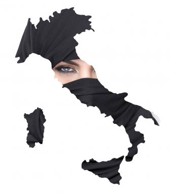 Double exposure of Italy map and girl wearing burqa
