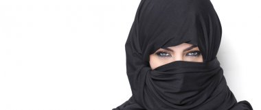 Beautiful girl wearing burqa letterbox