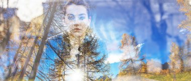 Double exposure of beautiful girl and autumn landscape letterbox