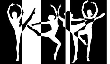 Dancer silhouettes black and white