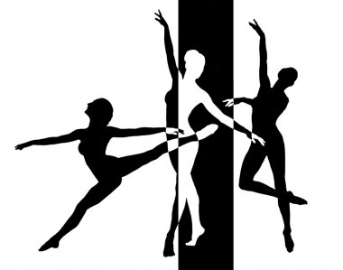 Dancer silhouettes in black and white