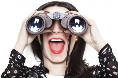 Distorted girl looking through binoculars