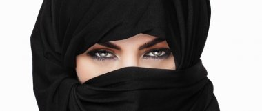 Girl wearing burqa closeup letterbox