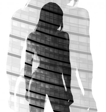 Double exposure of woman back and skyscraper black and white