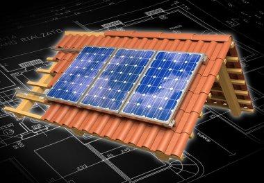 Solar panels roof 3D rendering