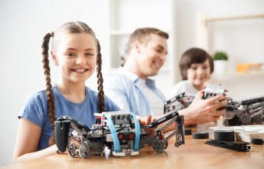 Positive kids playing with lego