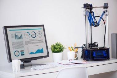 printer standing near computer