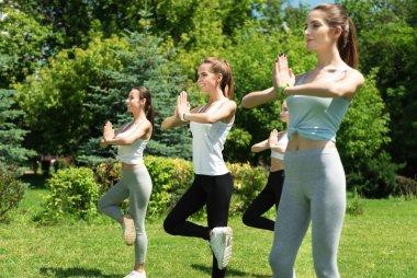 Positive women practicing aerobics
